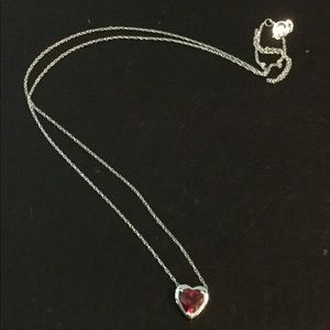Ruby heart necklace set in white gold